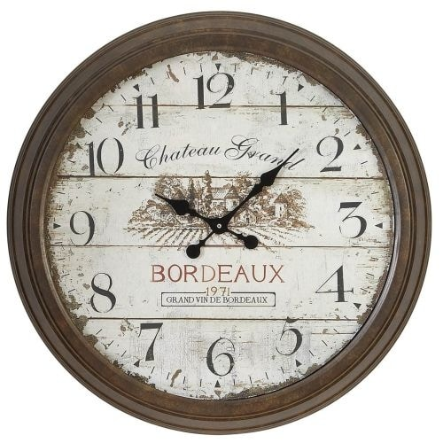 "Aspire Home Accents 52503 28"" Bordeaux Vintage Style Wall Clock - distressed brown / cream"