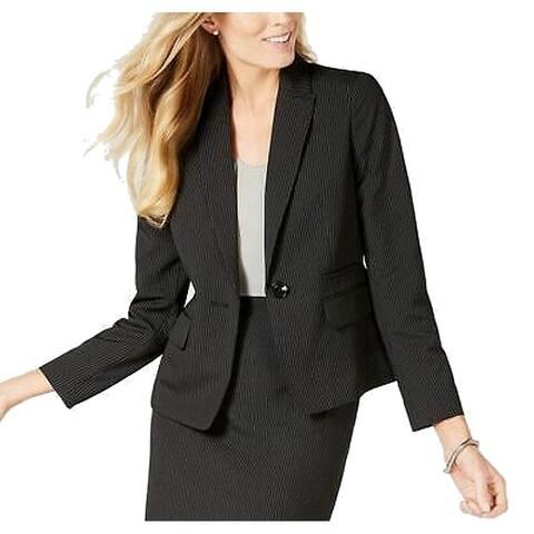 Le Suit Womens Blazer Classic Black Size 14 Striped Print Single Button