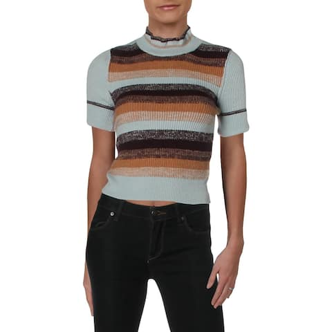 Free People Womens Pullover Sweater Striped Short Sleeves