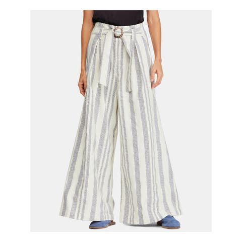 FREE PEOPLE Womens Ivory Striped Wide Leg Pants Size 6