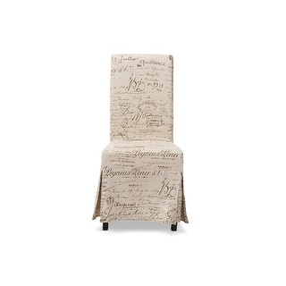 Picard French Script Beige Linen Modern Dining Chair - 2 Chairs