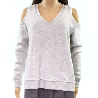 Alternative NEW Gray Womens Size Small S V-Neck Cold-Shoulder Sweater