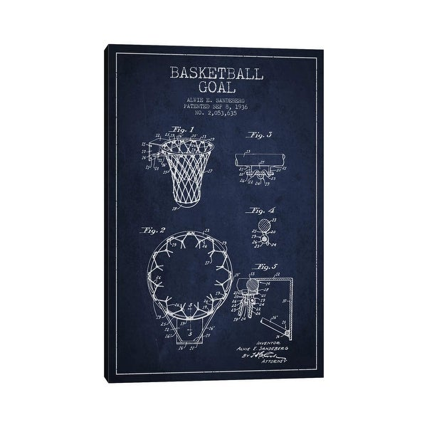 """iCanvas """"Basketball Goal Navy Blue Patent Blueprint"""" by Aged Pixel Canvas Print. Opens flyout."""