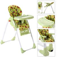 Adjustable Baby High Chair Infant Toddler Feeding Booster Seat Folding - Green