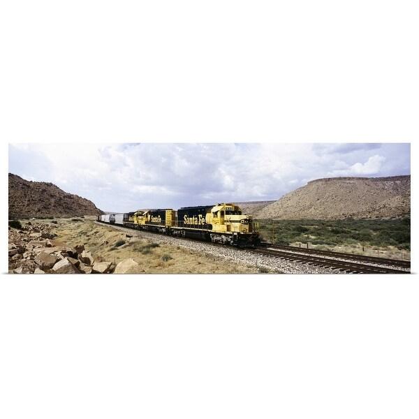 """""""Train on a railroad track, Santa Fe Railroad, Route 66, Valentine, Arizona"""" Poster Print"""