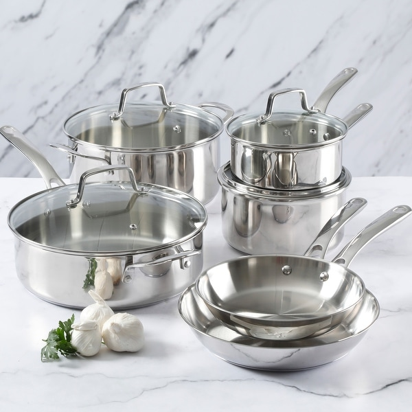 Martha Stewart 10-piece Stainless Steel Cookware Set. Opens flyout.