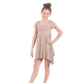 Lori&Jane Girls Tan Solid Color Short Sleeved Trendy Tunic Top