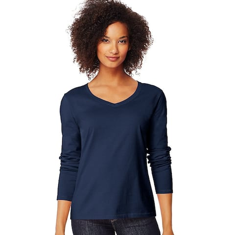 Hanes Women's Long-Sleeve V-Neck T-Shirt - Size - S - Color - Navy