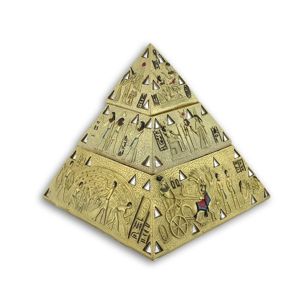 Ancient Egyptian Golden Pyramid Double Trinket Box - 6 X 5.5 X 5.5 inches