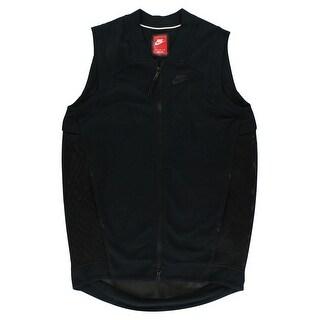 Nike Womens Tech Knit Fleece Mesh Cocoon Vest Black