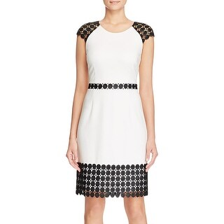 Laundry by Shelli Segal Womens Cocktail Dress Lace Detail Short Sleeves