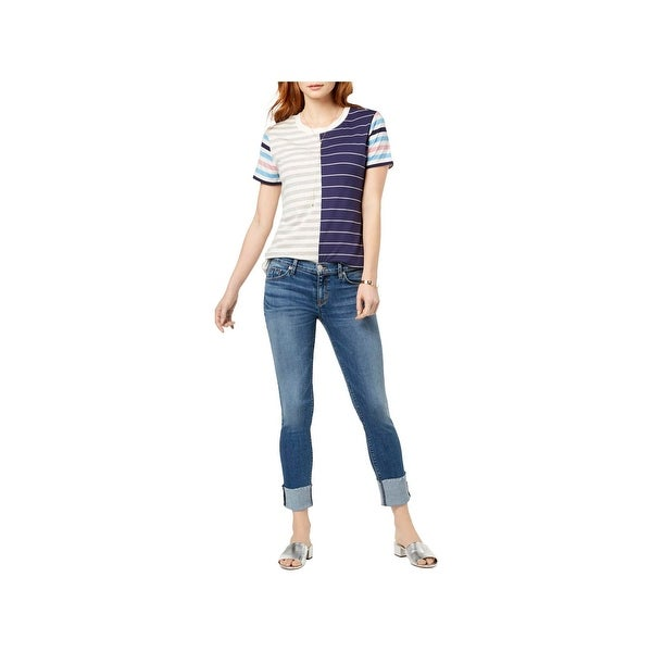 Hudson Womens Skinny Jeans Cuffed Raw Hem