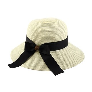 Women Lady Straw Bowknot Decor Brimmed Beach Hat Foldable Topee Floppy Cap White