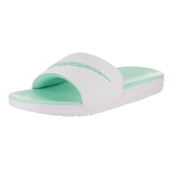 180bae005 ... discount code for nike womenx27s benassi solarsoft slide 2 sandal white  artisan teal 9ae4c f4305