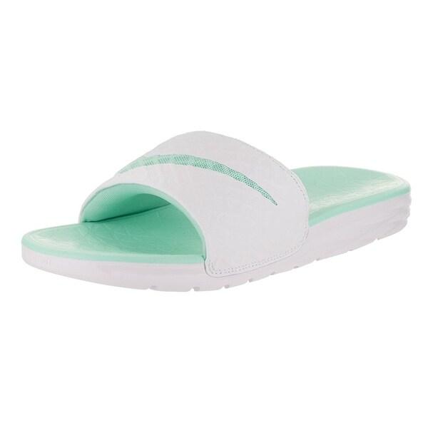 Nike Women's Benassi Solarsoft Slide 2 Sandal White/Artisan Teal
