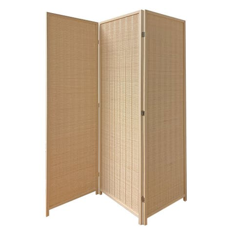 3 Panel Bamboo Shade Roll Room Divider, Beige - 71 H x 6 W x 57 L Inches