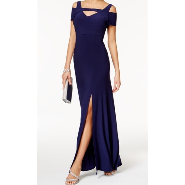 259318eb12b Shop Nightway Navy Blue Cold-Shoulder Women s Size 12 Cutout Gown Dress - Free  Shipping On Orders Over  45 - Overstock - 27549171