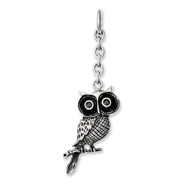 Chisel Stainless Steel Owl with CZ Interchangeable Charm Pendant (17 mm) - 2.5 in