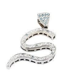 10K White Gold Initial S Charm Blue and White Diamonds 64mm Tall 1cttw(i2/i3, I/j)