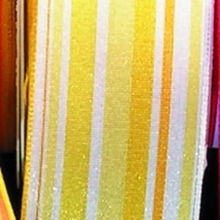 "Yellow French Wired Multi Striped Taffeta Craft Ribbon 1.5"" x 27 Yards"