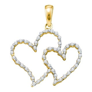 Twin Heart Pendant 10k Yellow Gold With Diamonds 1/6Ct By MidwestJewellery - White