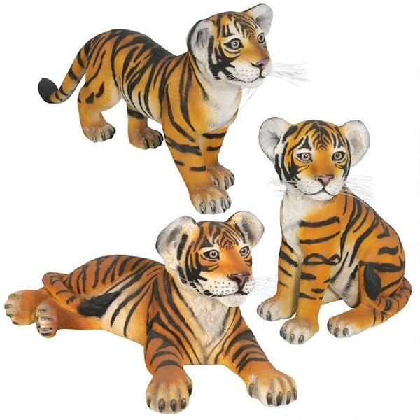 "Set of 3 Orange and Black Striped Bengal Tiger Cubs Outdoor Garden Statue 34"" - N/A"