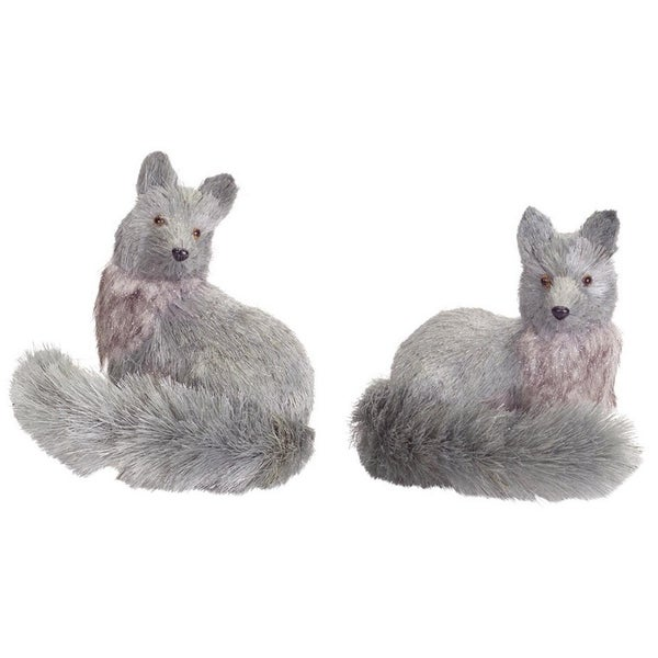"Pack of 4 Slate Gray Glitter Sisal Silver Fox Tabletop Decorations 8.25""-8.5"""