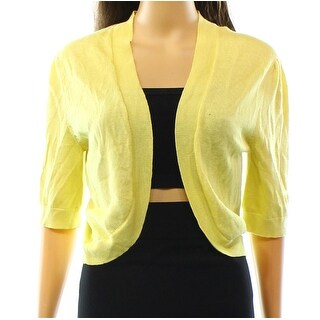 Lauren By Ralph Lauren NEW Yellow Women Medium M Open-Front Sweater