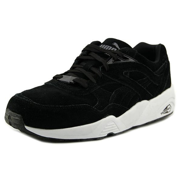 Puma R698 Allover Suede Men Round Toe Suede Black Sneakers