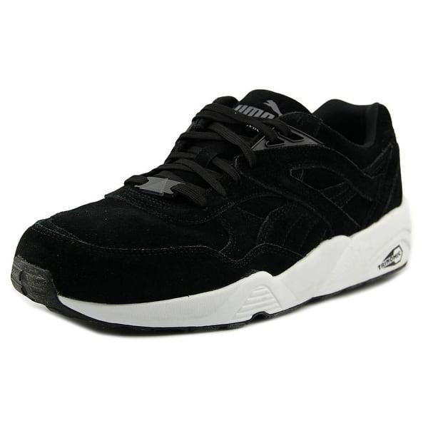 Shop Puma R698 Allover Suede Men Round Toe Suede Black Sneakers ... 7fe9ee2e5