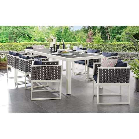 Acampo Modern Grey and White 9 Piece Outdoor Patio Dining Set with Blue Cushions