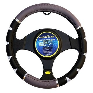"""Goodyear 14.5-15.5"""" Leather Grey/Black Steering Wheel Cover GY-SWC-314"""