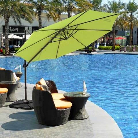 10' Patio Offset Cantilever Umbrella with Tilt and 360 Degree