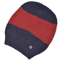 Gucci Men's 310777 Wool Blue Red Interlocking GG Baggy Beanie Ski Hat