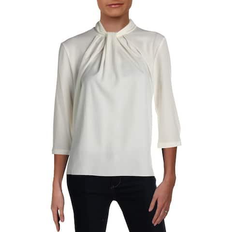 Basler Womens Blouse Pleated Three-Quarter Sleeves - White
