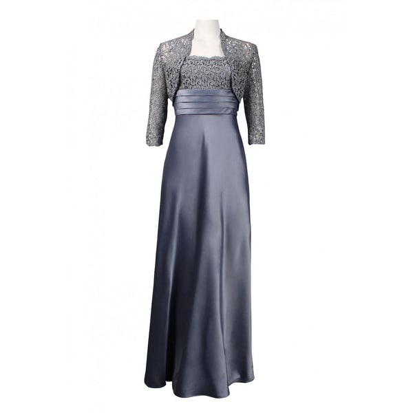 Adrianna Papell Metallic Lace Trim Pleated Waist Satin Dress,Pewter, 6. Opens flyout.
