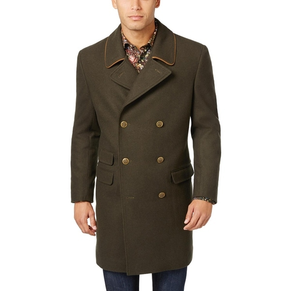 df0a93fd695 Shop Tallia Orange Mens Wool Blend Peacoat Overcoat Dark Olive Green ...