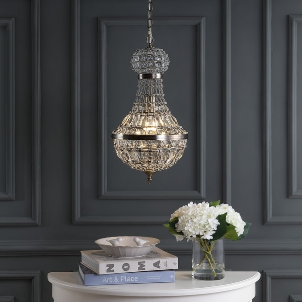 """Regina 12"""" Crystal/Metal Empire LED Chandelier, Antique Brass by JONATHAN Y. Opens flyout."""
