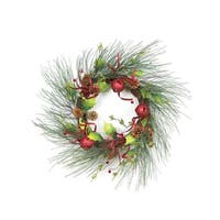 "21"" Christmas Brites Red & Green Jingle Bell Glitter Artificial Wreath - Unlit"