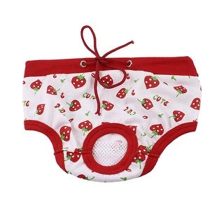Unique Bargains Pet Dog Cat Strawberry Print Adjustable Waist Diaper Pants Panties Red White S