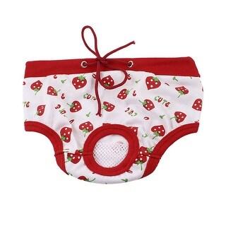 Unique Bargains Pet Dog Cat Strawberry Print Adjustable Waist Diaper Pants Panties Red White S