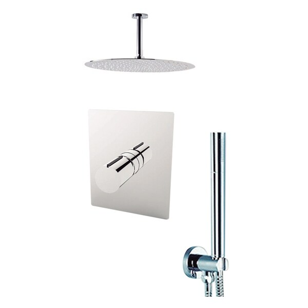 "Aquamoon Barcelona Shower Set Brushed Nickel With 12"" Showerhead, Handshower and Ceiling Shower Arm"