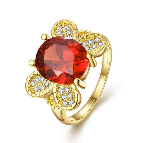 Gold Plated Flying Ruby Butterfly Ring