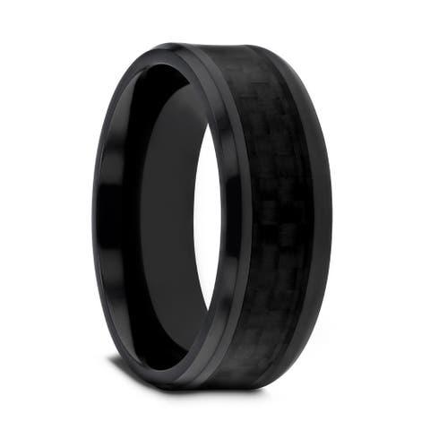 Thorsten Oxyn Titanium Ring Men Black Titanium Polished Beveled Edges Black Carbon Fiber Inlaid Men's Wedding Band - 8 mm