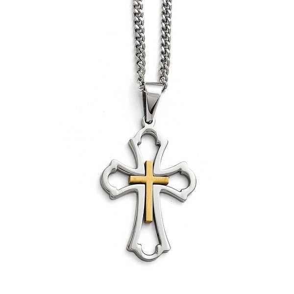 Chisel Stainless Steel Yellow IP-plated Cross Brushed and Polished Necklace - 22 in