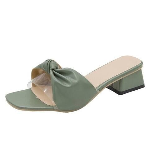 Open Toe Bow Heel Sandals