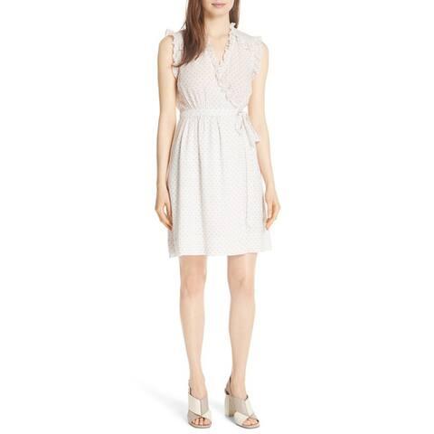 Rebecca Taylor Dot Ruffle Faux Wrap Dress, Vanilla, 12