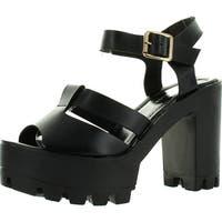 Top Moda Womens Basic-9 Peep Toe Strappy Slingback Lugsole Platform Chunky Heels - gold pu