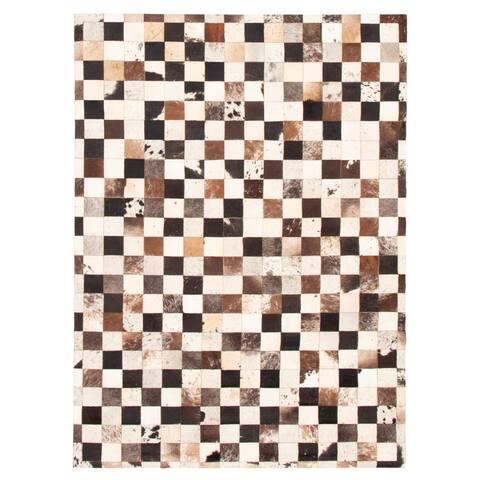 ECARPETGALLERY Handmade Cowhide Patchwork Dark Brown Leather Rug - 5'7 x 7'9