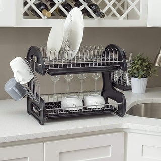 Multifunctional Dish Drainer Dual Layers Bowls & Dishes & Chopsticks & Spoons Collection Shelf